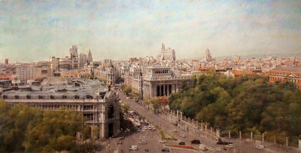 Madrid vista desde el edificio de Correos. Artista Félix González Mateos