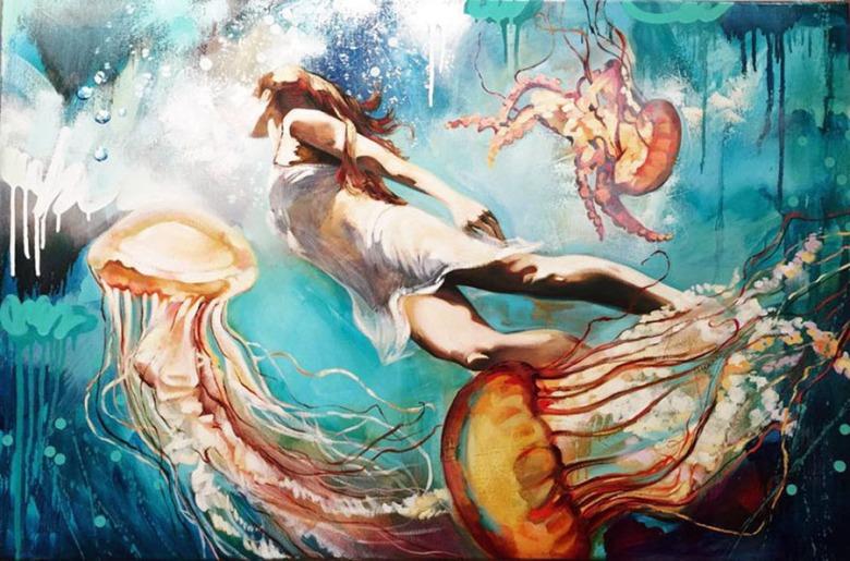Dimitra Milan. Artista de 16 años . Pinta mujeres en relación con la Naturaleza.jpg 5