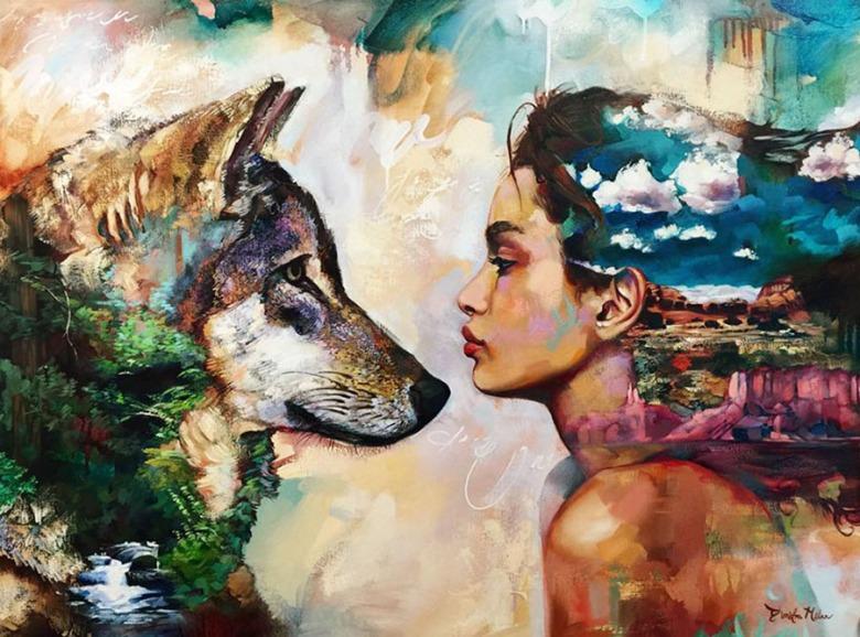 Dimitra Milan. Artista de 16 años . Pinta mujeres en relación con la Naturaleza