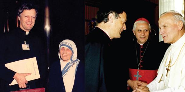 Miceal Ledwith con Teresa de Calcuta , Juan Pablo II y Ratzinguer (Benedicto XVI)
